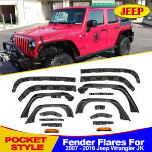 For 2007 2016 Jeep Wrangler Jk Unlimited Textured Oe Style Flat Fender Flares