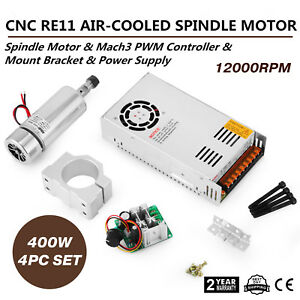 Cnc 400w Brushed Spindle Motor 4pcs Set 2megohm Bracket Speed High Grade