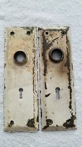 2 Brass Antique Vintage Door Knobs Backplates Hardware Salvage Many Available
