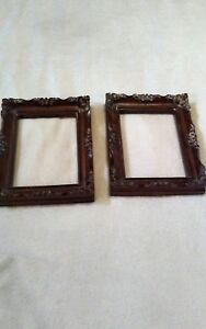 Lot Of 2 Antique Wood Carved Arts Crafts Picture Frames