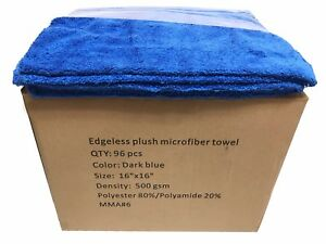 96 Case 16x16 Microfiber Edgeless Towels 500gsm Auto Detailing cleaning D Blue