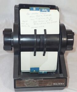 Vintage Rolodex 2254 Black With Key Cards And Dividers P0497