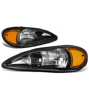 Fit 99 05 Pontiac Grand Am Pair Black Housing Amber Side Front Bumper Headlight