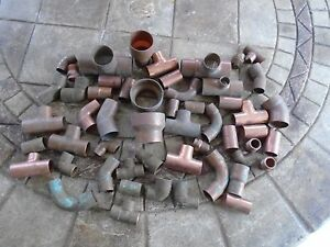 Plumbers Lot Of 53 Copper Brass Fittings Plumbing Parts Hvac