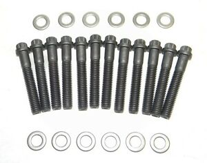 Small Block Ford Black Oxide 12 Point Intake Manifold Bolts 351w Grade 8 New