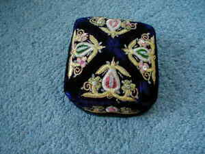 Antique Uzbek Hat Embroidered Skull Cap Velvet Sequins Gold Metallic Thread
