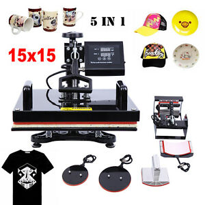5in1 15 x15 Combo Digital Heat Press Sublimation Transfer Machine T shirts Hat