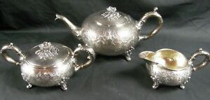 Antique 3 Pc Sheffield Hand Chased Floral Tea Set Silver Plate Cream