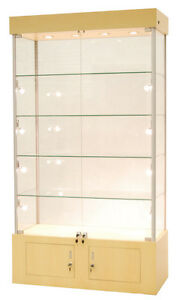 Premium Assembled Maple Wall Glass Display Case Showcase Light Lock Ny Pickup