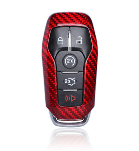 Red Carbon Fiber Remote Fob 5 Buttons Key Case Shell For Ford Mustang Automatic