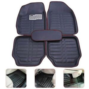 Universal Car Floor Liners Front Rear All Weather Floor Mats Carpet Black Red