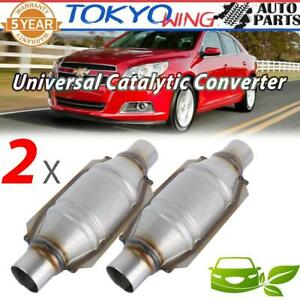 2x 2inch Universal Car Catalytic Converter High flow Round Epa Obd Ii Euro2 3 4