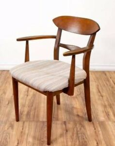 Set Of 6 Six Mid Century Modern Dining Chairs Curved Back
