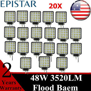 20x 48w Flood Led Work Lights Square Cube Driving Car Truck Off Road 27w 36w 54w