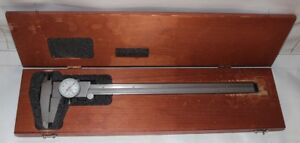 Starrett Model 120 Dial Caliper Machinist Tool In Wood Case