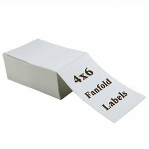 500 4 x6 Fanfold Direct Thermal Shipping Perforated Mailing Postage Label Zebra