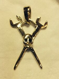 10 Karat Yellow Gold Crossed Spud Wrenches Pendant With Skull
