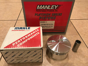 New Manley Platinum Forged Sbc Chevy 4 030 1 125 Ch Pistons Pins Mahle Rings