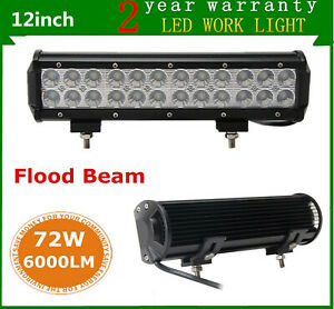 2x 12inch 72w Led Light Bar Work Flood Beam Cree 4wd Car Atv Driving Ford Fog Us