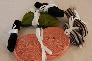 Lot Assorted Vintage French Ribbon Velvet Pink Olive Green Black White Stripe