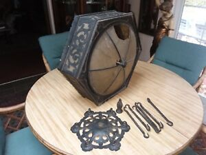 C 1910 Antique Arts Crafts Iron Chandelier Hanging Panel Lamp To Restore Old