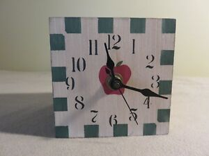 Vintage Primitive Handmade Clock Hand Painted Apple Checkerboard Folk Art Works