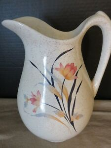 Vintage Ceramic Dry Sink Water Pitcher Flower Speckled Ivory Stoneware Crock