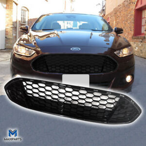 2013 2015 Ford Fusion Front Grill Honeycomb Gloss Black Grille