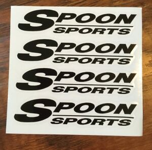 4x Black Spoon Sports Wheel Rim Sticker Slipstream Rota Restoration Decal Kit