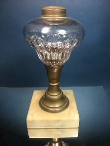Antique Etched Glass Bronze Marble Base Oil Lamp Art Nouveau Victorian