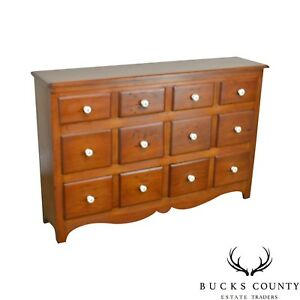 Country Pine Antique 12 Drawer Apothecary Cabinet Chest