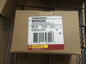 1 X Square D Homeline Hom220gfi 2 Pole 20 Amp Ground Fault Breaker New In Boxes