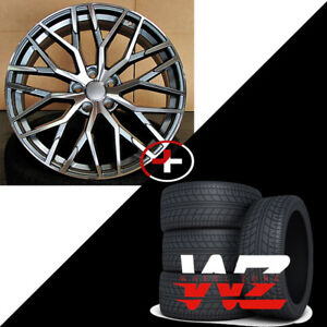 20 In R8 1349 Style Wheels Gunmetal With Tires Fits Audi A7 S7 A8 S8 Rims 5x112