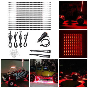14pcs 12 Inch Red Strip Led Lights Bar Underglow Under Body Neon Glow Car Truck