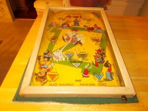 1940s Or 1950s Poosh M Up Jr 4 In 1 Gameboard With Glass Front To Shoot Metal Ba