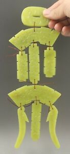 Chinese Old Natural Yellow Jade Hand Carved Wind Chime Pendant Statue 10 Inch