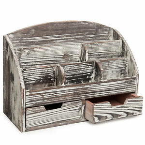 Wood Desktop Office Organizer With 6 Compartment 2 Pull out Drawer Beige