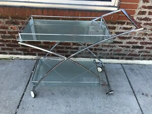 Vintage Retro Chrome Glass Bar Beverage Tea Cart Tray W Wheels Milo Baughman Era