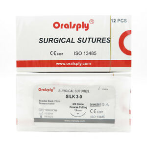 50 Boxes Sutures Silk 3 0 75cm With Needles 3 8 Circle Reverse Cutting 19mm