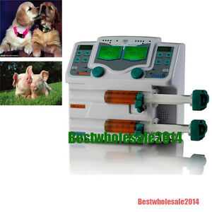 Veterinary 2 channel Syringe Injector Pump Lcd Ejector Squirt Pump Alarm Sale