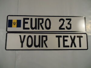 Euro German Style Embossed Aluminum License Plates Barbados Flag 8 Total Spaces