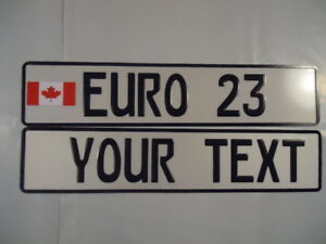 Euro German Style Embossed Aluminum License Plates Canada Flag 8 Total Spaces