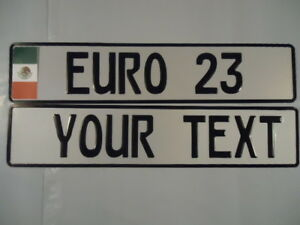 Euro German Style Embossed Aluminum License Plate Mexico Flag 9 Total Spaces