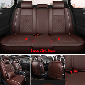 Car Seat Cover Pu Leather front Pillows headest 5 seat Full Kits Universal