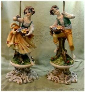 Vtg Huge 2 Porcelain Statue Figurine Rococo Hand Painted Italy Couple Table Lamp