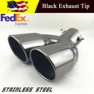 Stainless Steel Exhaust Tail Muffler Tip Dual Wall Round 2 5 Inlet Us Shiping