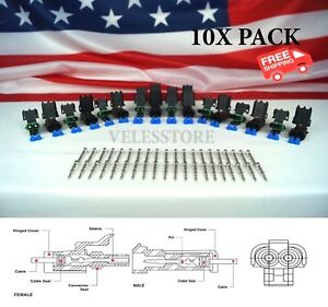 Delphi Weather Pack 2 Pin Sealed Connector Kit 16 14 GA 10 COMPLETE KITS $19.50