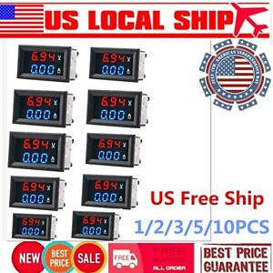 10pcs Dc 100v 10a Digital Voltmeter Ammeter Blue Red Led Volt Amp Meter Gauge Rq