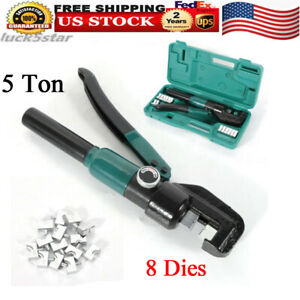 10t Hydraulic Wire Terminal Crimper Battery Cable Lug Crimping Tool 12 Mm Stroke