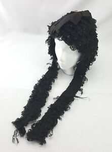 Antique Victorian Womens Black Bonnet Beaded Curly Fascinator 19th Century 1800s